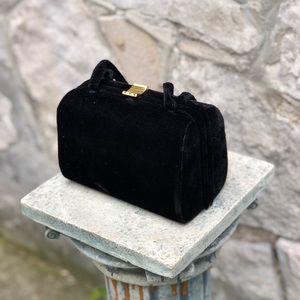 Vintage black velvet mini purse